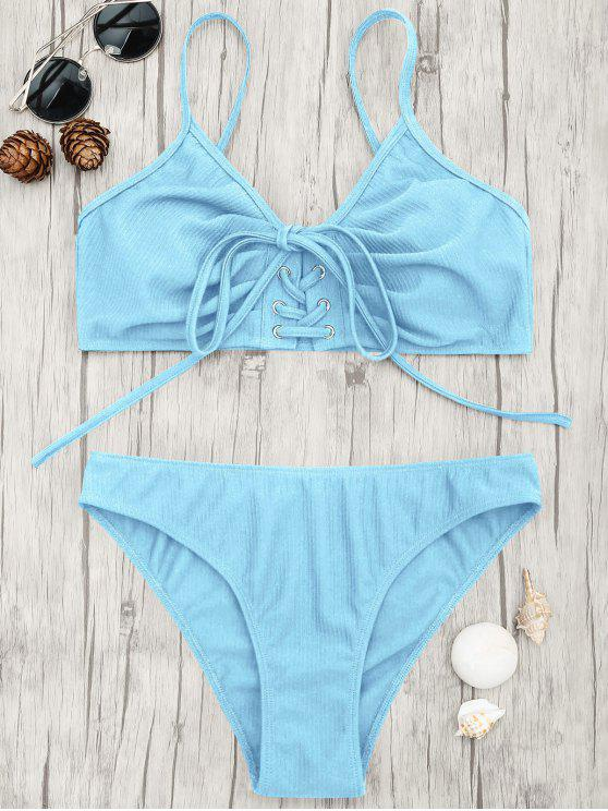 outfit Eyelets Lace Up Bralette Bikini Set - LIGHT BLUE S