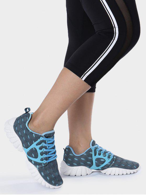 Chaussures athlétiques à motifs géométriques à mailles respirantes - Bleu 37