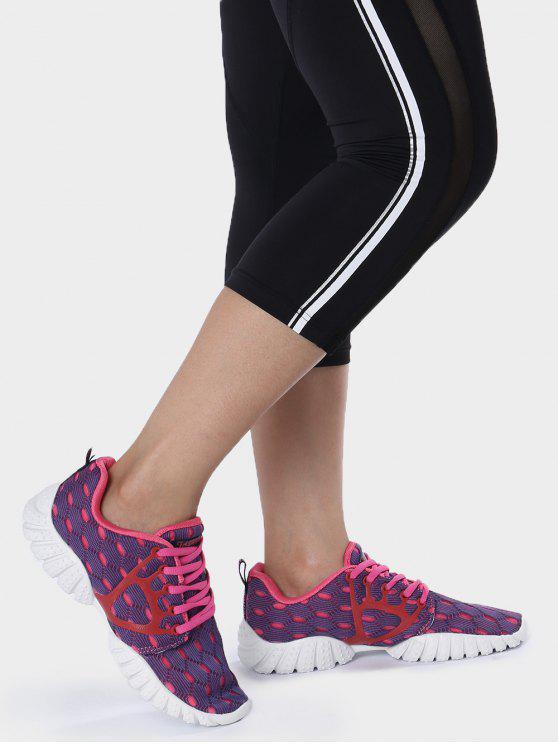 Sapatos respiratórios de padrão geométrico de malha respirável - Roxo 40