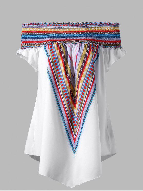 Colorido elástico fuera del hombro más talla túnica blusa - Blanco 4XL