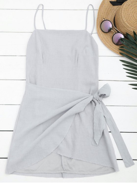 Slit Knotted Mini Slip Dress