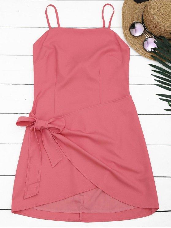 Robe Courte Découpée à Bretelles à Noeud Papillon - Pastèque Rouge L