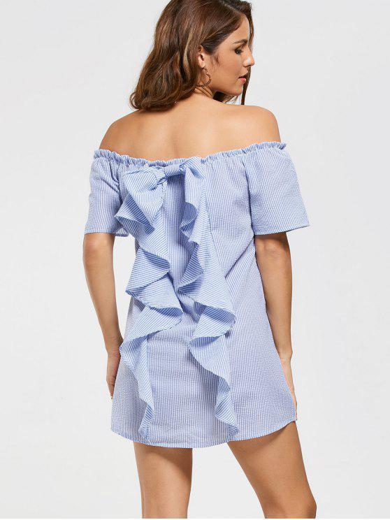 Robe Épaules Dénudées à Volants Rayée - Bleu clair L