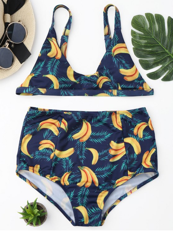 Banana Print Ensemble de bikini à taille haute - Bleu et Jaune L