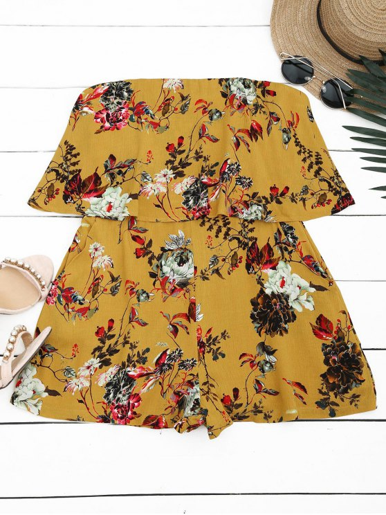 women Overlay Floral Strapless Romper - YELLOW M