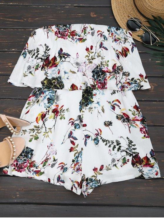 Rompecabezas Floral sin tirantes - Blanco S