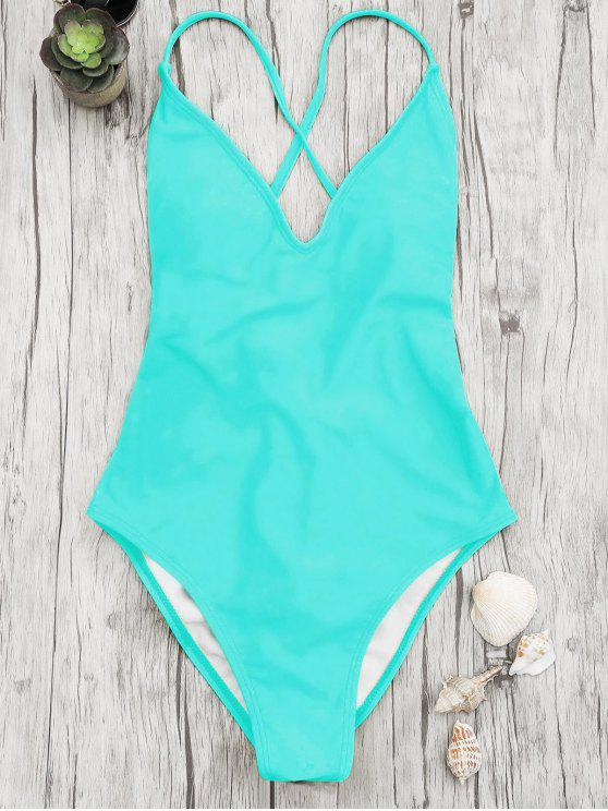 online V Neck High Cut One Piece Swimsuit - TURQUOISE L