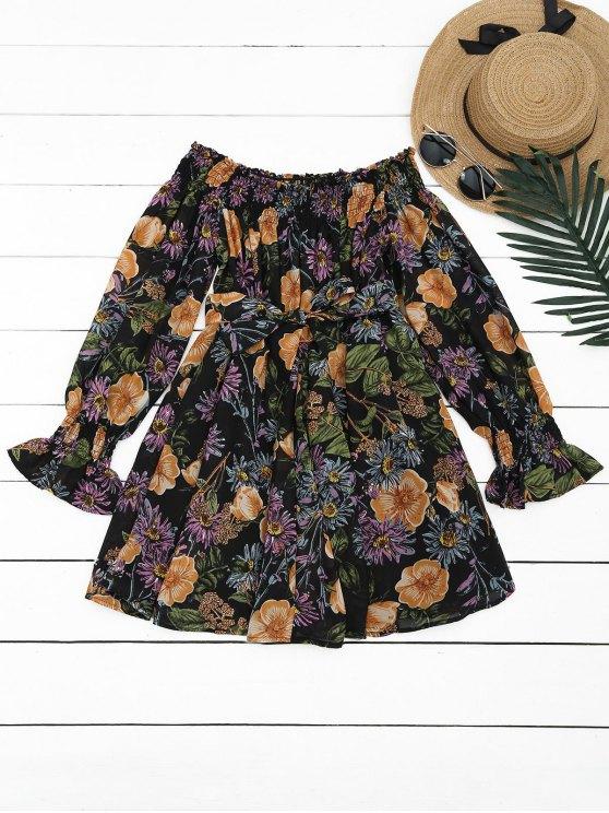 Robe Courte Florale à épaules Dénudées - Floral S