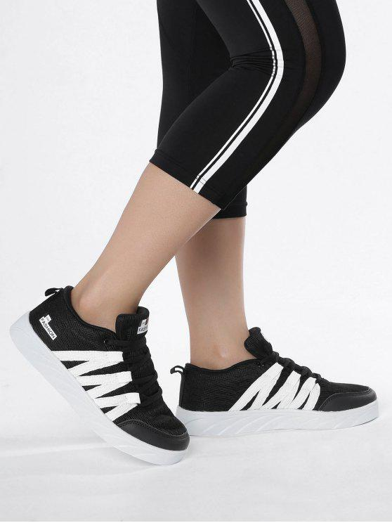 Breathable Tie Up Mesh Skate Zapatos - Negro 37