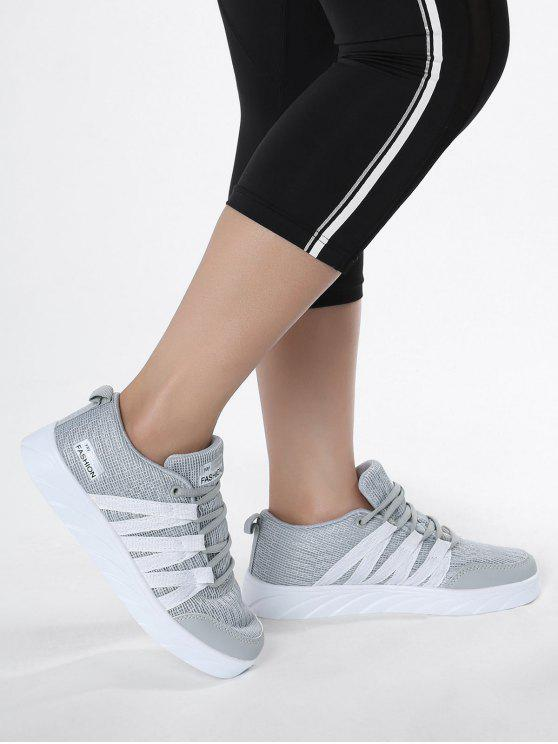 Breathable Tie Up Mesh Skate Zapatos - Gris 38