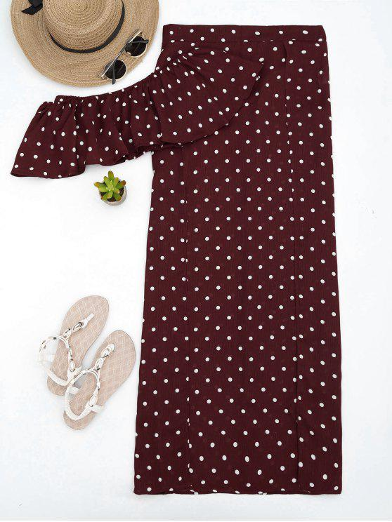 ladies Polka Dot Off Shoulder Cropped Top and Maxi Skirt - WINE RED M