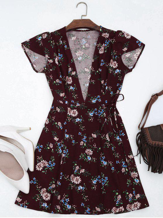 فستان كاب الأكمام لف مرسوم مصغر - نبيذ أحمر M