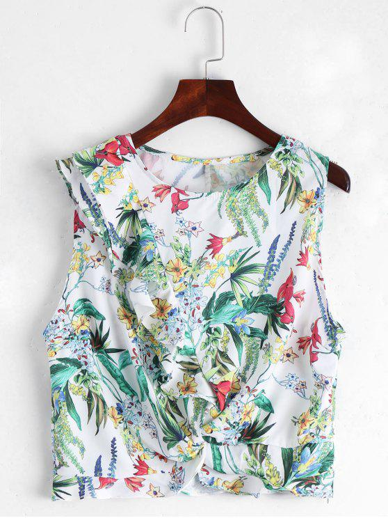 womens Sleeveless Floral Ruffles Top - WHITE M