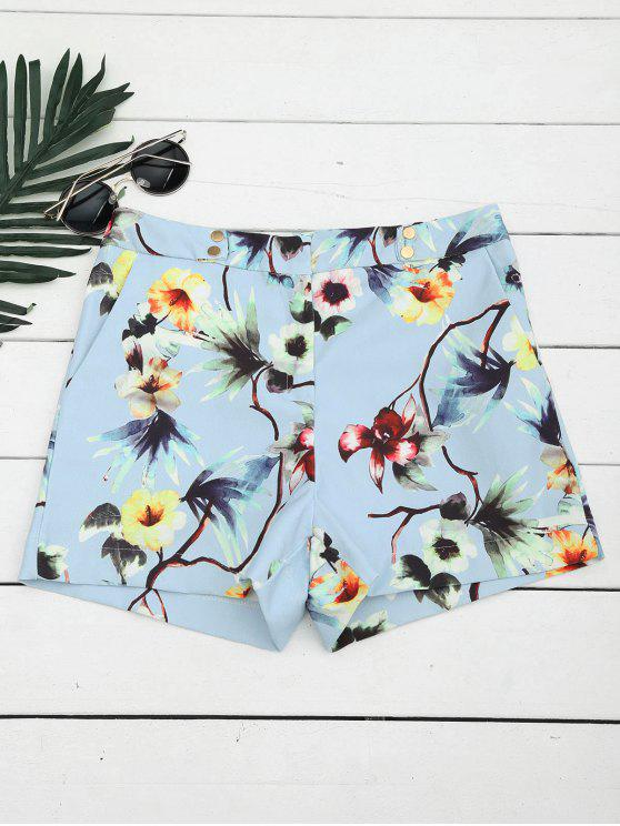 chic High Waisted Floral Shorts with Buttons - FLORAL M