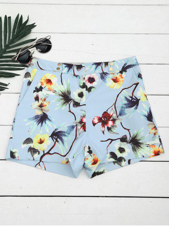 Pantalones cortos con cintura alta y botones - Floral L