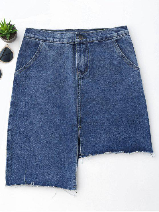 best Slit Asymmetrical Denim Skirt - DENIM BLUE L