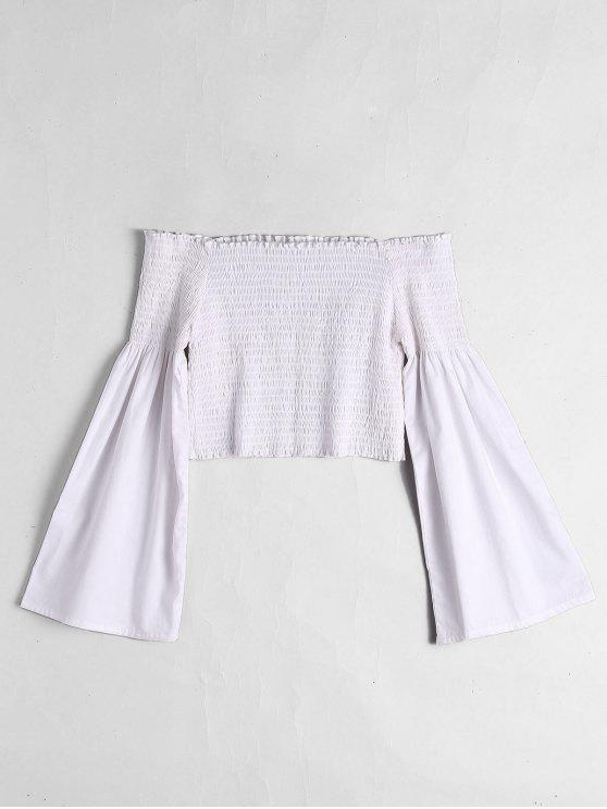 affordable Off The Shoulder Flare Sleeve Crop Blouse - WHITE S