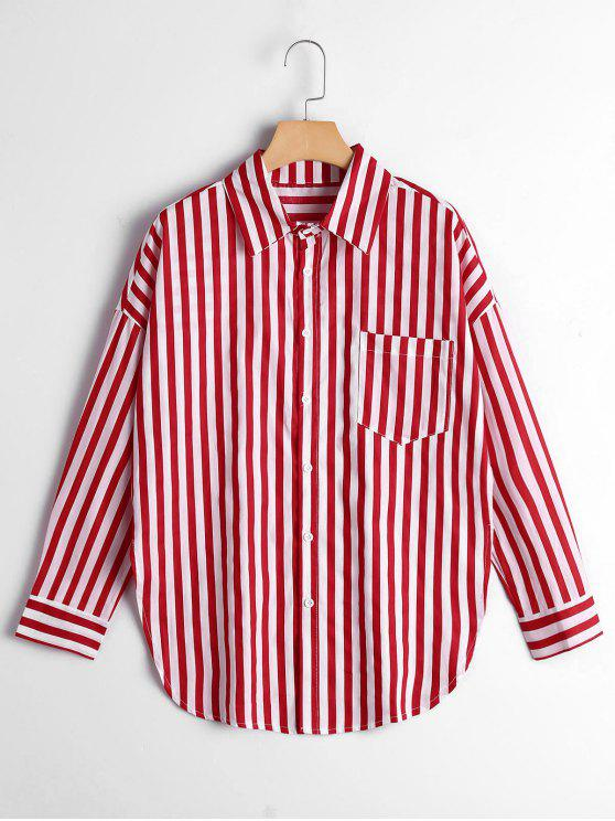 women's Button Up Drop Shoulder Striped Pocket Shirt - RED STRIPE S