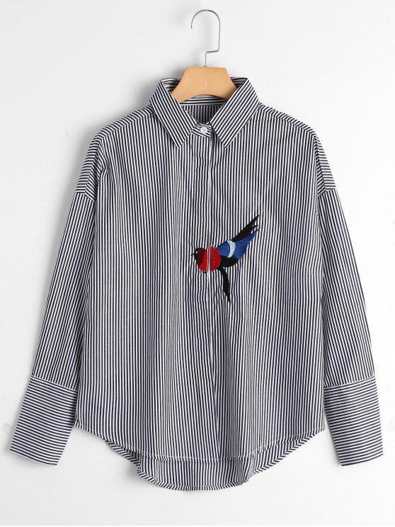 Pájaro remendado gota hombro rayas camisa - Negro M