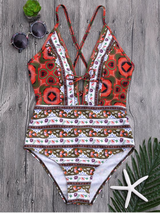 Tribal Print Floral Backless Swimsuit - Multicolore XL