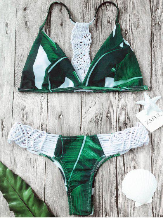 Ensemble Bikini Imprimé à Feuilles de Palmier à empiècement en Crochet - Blanc XL