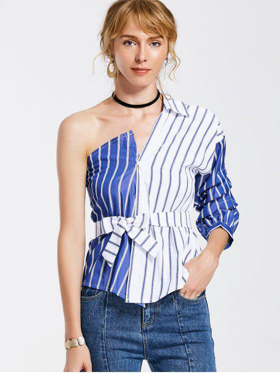 chic Belted Stripes One Shoulder Blouse - STRIPE L