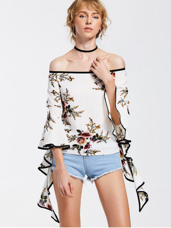 women's Off The Shoulder Spiral Sleeve Floral Blouse - FLORAL XL