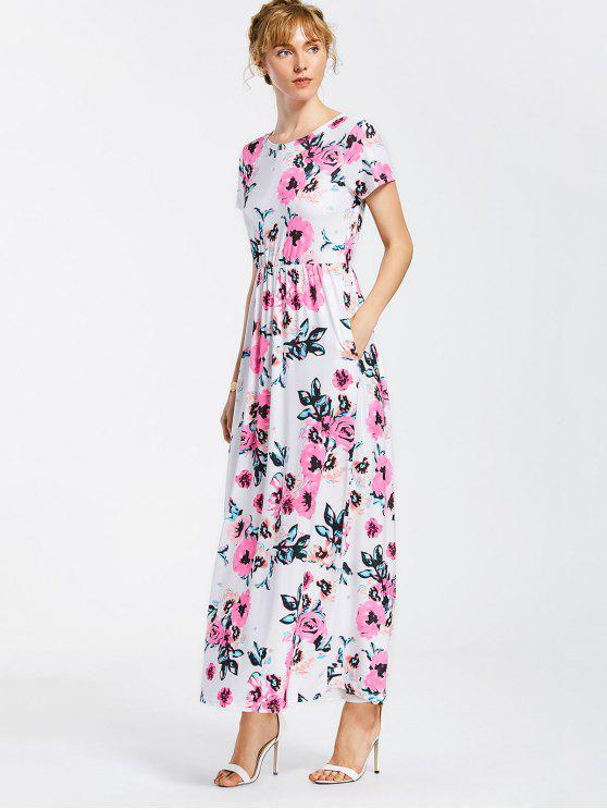 online Floral Print Round Collar Maxi Dress - WHITE S