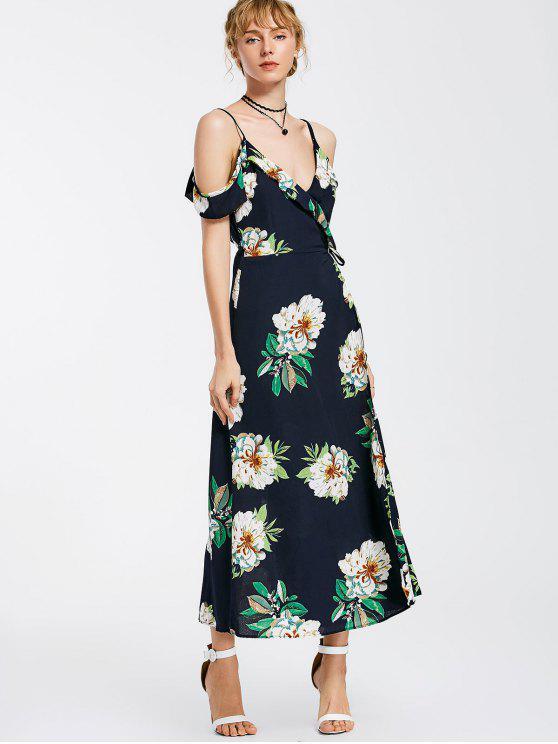 الزهور البوق الكتف التفاف فستان ماكسي - الأرجواني الأزرق L