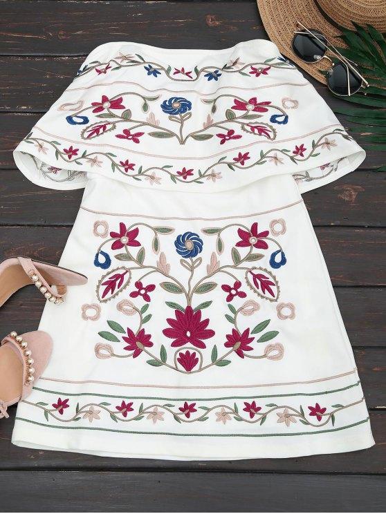 تراكب الأزهار المطرزة أنبوب اللباس - أبيض M