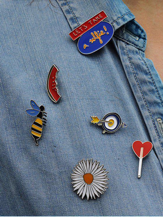 Melocotón Honeybee Conjunto de broche de corazón de girasol - Colormix