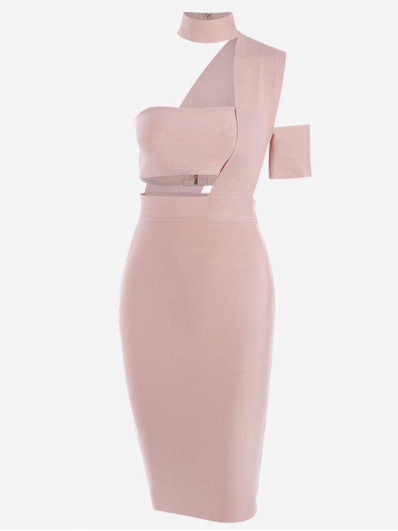 women's Bandeau Top and High Waist Skirt Set - PINK S