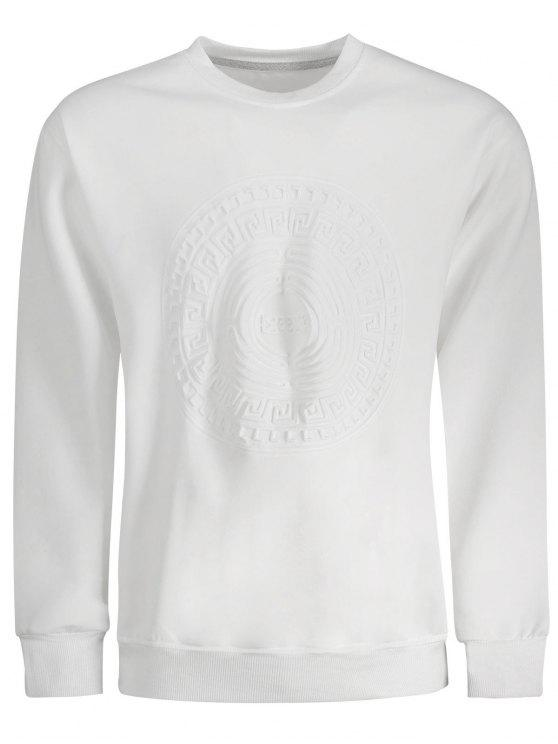 new Embossed Graphic Crewneck Mens Sweatshirt - WHITE XL