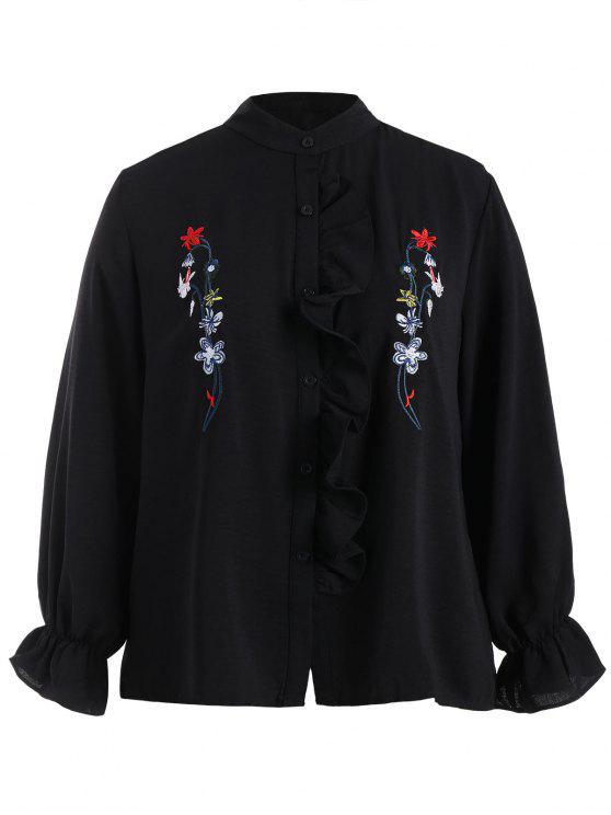 Chemise brodée florale à grande taille Flounce - Noir 4XL