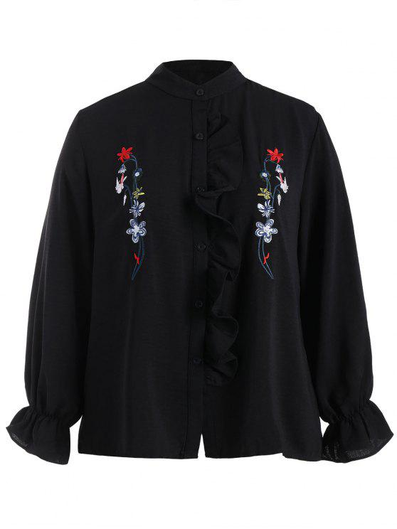 fashion Plus Size Flounce Floral Embroidered Shirt - BLACK 3XL