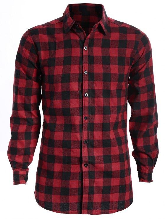 Chemise à carreaux décontractée pour hommes - ROUGE ET NOIR M