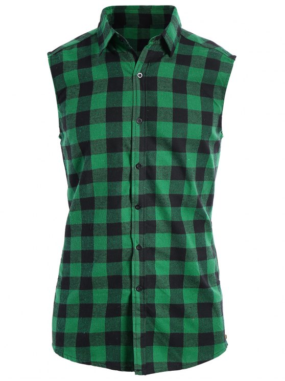 buy Checked Twill Mens Sleeveless Shirt - GREEN XL