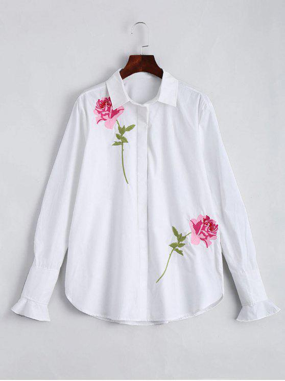 affordable Cotton Floral Embroidered Shirt - WHITE L