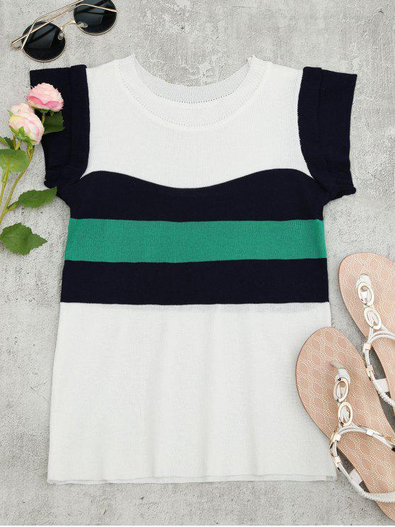 ladies Knitted Color Block Layered Top - WHITE ONE SIZE