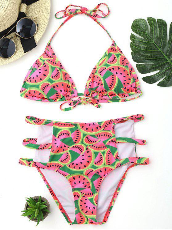lady Watermelon Print Cutout High Waisted Bikini Set - COLORMIX S
