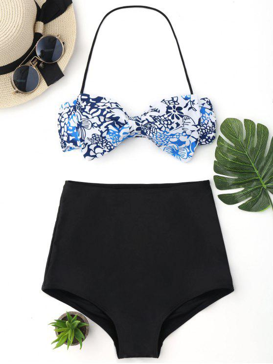 hot Bow Bandeau High Waisted Bikini Set - WHITE AND BLACK AND BLUE L
