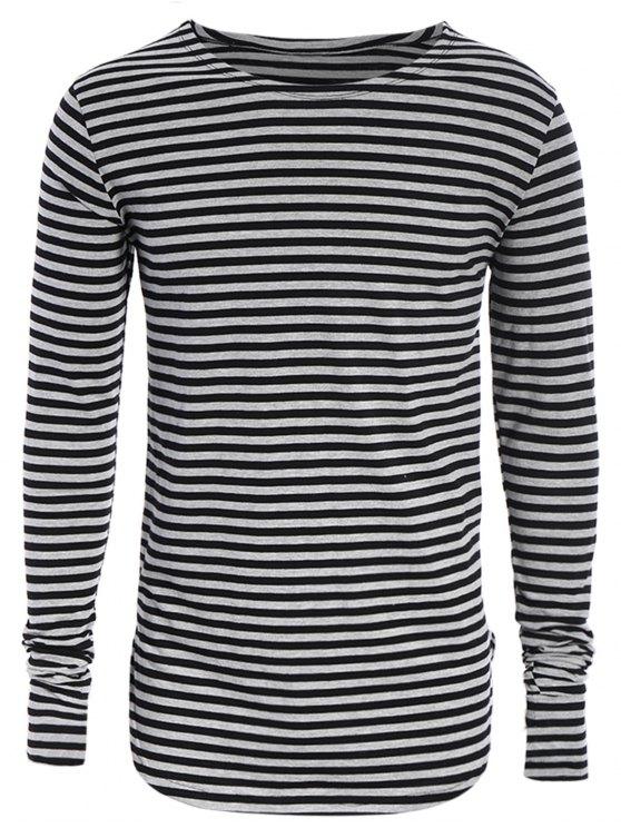 Männer Jersey-Oberseite mit  langen Hülsen und Streifenmuster - Schwarz & Grau 2XL