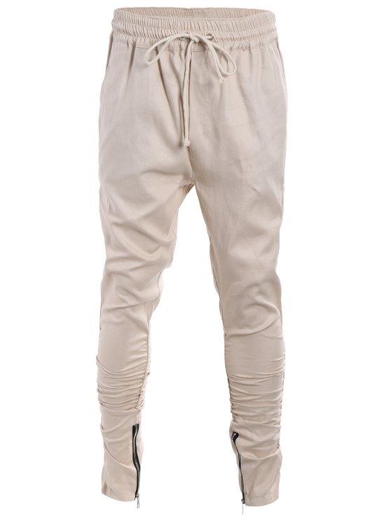 Slim Fit Drawstring Mens Twill Pants - Kaki 2XL