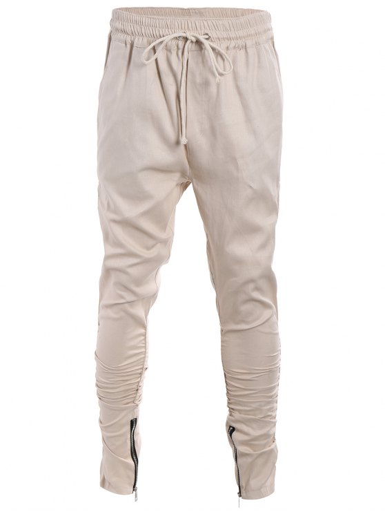 women Slim Fit Drawstring Mens Twill Pants - KHAKI XL