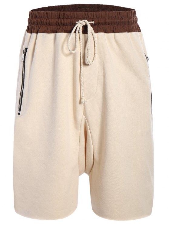 lady Zip Pockets Jogger Terry Sweat Shorts - KHAKI L