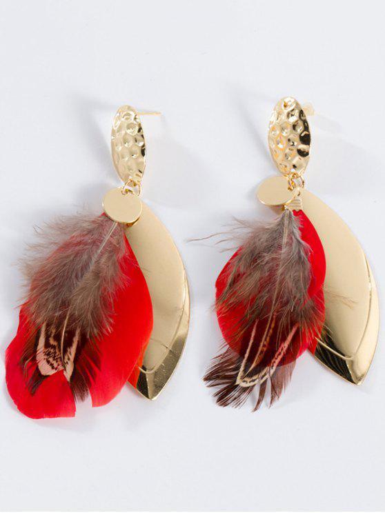 Pendientes de gota con plumas de aleación de hoja - Rojo