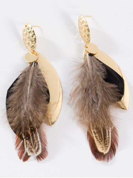 outfit Feather Embellished Alloy Leaf Drop Earrings - BLACK