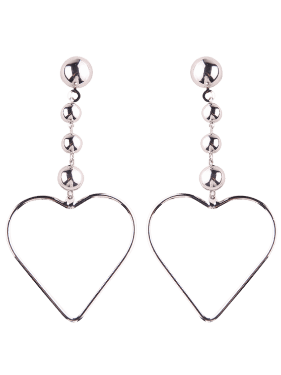 New Hollow Out Heart Drop Earrings Silver