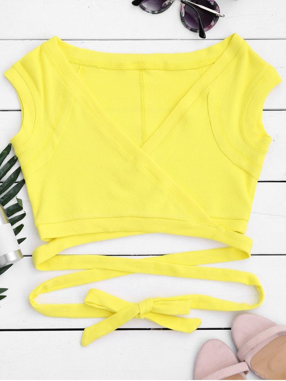 chic Crossover Ribbed Wrap Top - YELLOW S
