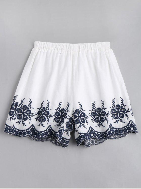 affordable Floral Embroidered High Waisted Shorts - WHITE M